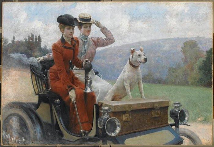Дамы Голдсмит в бул лесу в 1897 на Пежо 1901 Дж Л Стюарт Компьень