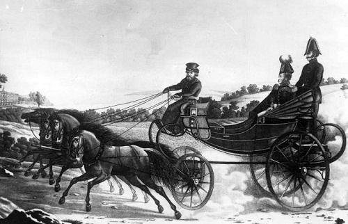 Alexandre в коляске подъезжает к загородному дворцу гр Афанасьев