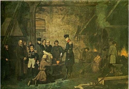 Александр 1 на Верх-Исетском заводе е Екатеринбурге в 1824 году 1877 Корзухин Рус муз2