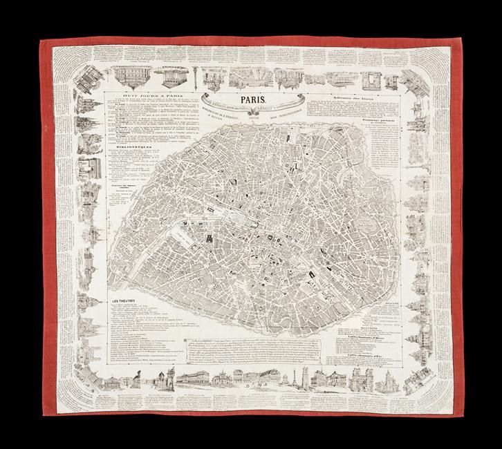 носовой платок карта Парижа 19 в Муз армии