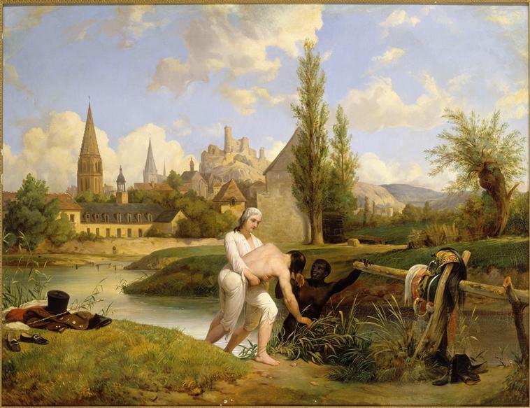 Герц Шарт спасает от утопления инж Сире в авг 1791 в Вандоме 19 в Леконт-Верне Версаль.jpg