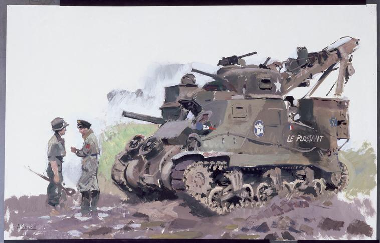 Ремонтно-эв танк в Вогезах полк морской пехоты 2 ДБ 1944.jpg
