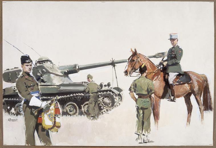 Офцер солдат и горнивт 8 гус полка 1951.jpg