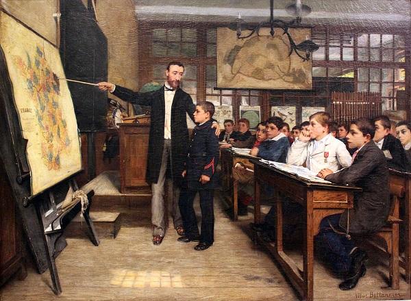 Урок географии черное пятно ок 1887 А Беттаннье Нем ист музей Берлин2.JPG