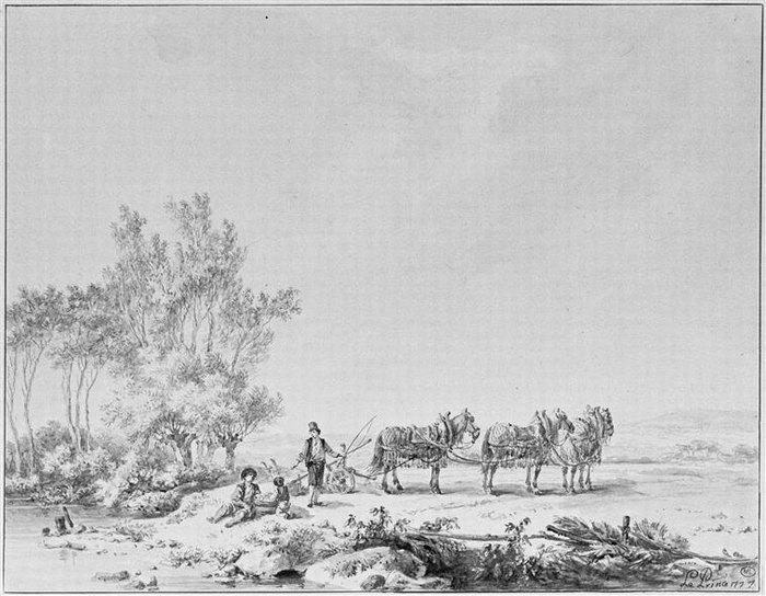 Пейзаж с 3 лошадьми запр по русски 18 в Ж Б Лепринс Лувр.jpg