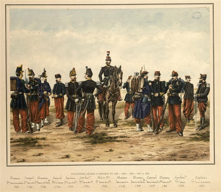 Легкая афр пехота 1855 1860 1868 1875 1902 нар 1904 Муз армии.jpg