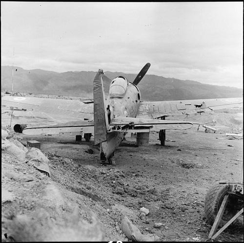 Самолет F8F подбитый на земле арт Вьетминя март 19854 Камю Перо.jpg