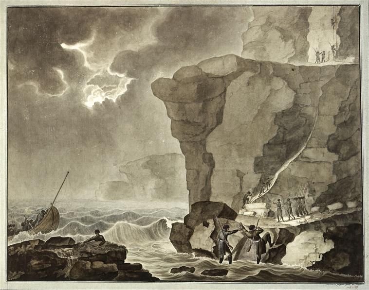 ВЫсадка загов на утесах Бивилля возле Дьеппа 16 янв 1804 1804 а де полиньяк.jpg