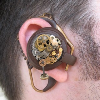 Clockwork communicator headset (cell phone ala telegraph interface)
