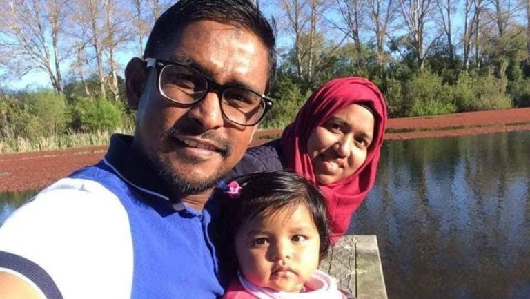 Sheikh Hasan Rubel, 35, pictured with his wife Afsana Anjuman and 2-year-old daughter Arveen Raheef, was sitting in the front row of worshippers at the Al Noor mosque when he was shot several times on March 15.