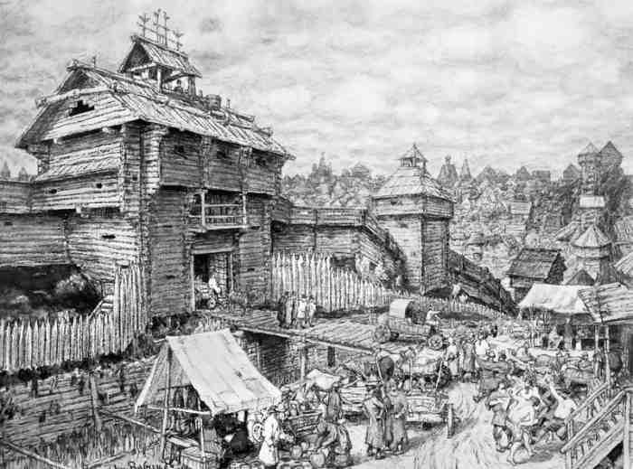 Деревянный городок Москва. XIV век. Картина А. Васнецова