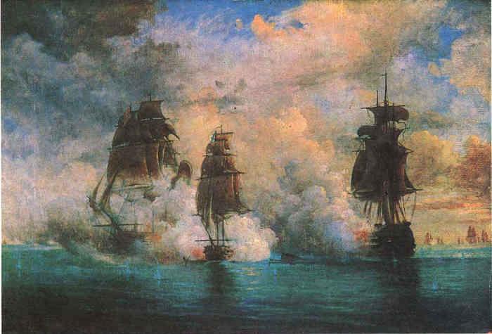 Бой брига МЕРКУРИЙ с турецкими кораблями. Картина Николая Красовского