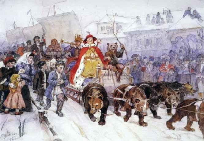 Большой маскарад в 1722 году на улицах Москвы с участием Петра I и князя-кесаря И. Ф. Ромодановского