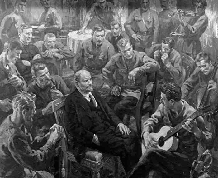С картины Отто Скулме «В.И.Ленин с латышскими стрелками в Кремле 1 мая 1918 года»
