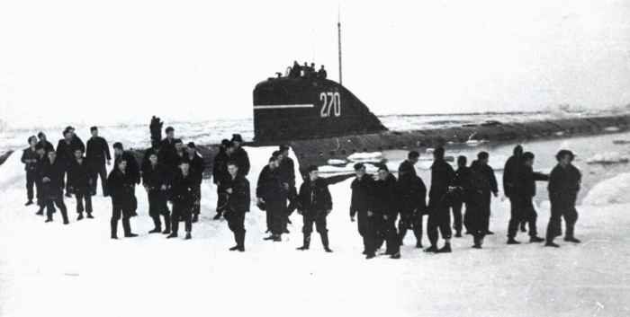 АПЛ К-3 на Северном полюсе