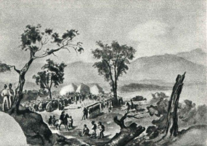 При Валерике. Похороны убитых 12 июля 1840. Акварель из походного альбома Лермонтова