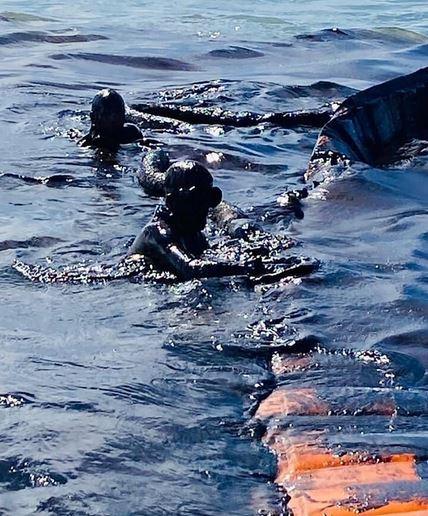 Аквалангисты заводят ограждающие боны