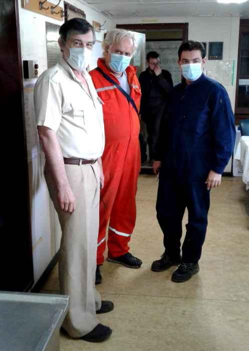 Captain Nikolskiy, Tech Superintendent Christos Tsakarisianos, Marine Sup't Capt Menelaos Arapakos