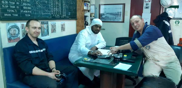 2й механик Николай Капитан, 3й помощник Mohammed Misbah Ansari, старший помощник Олексий Лагута