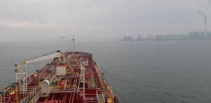 Chem tanker PK MARIT entering port Dalian