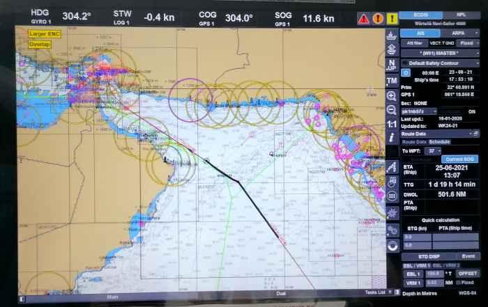 Электронная карта. Подход к Персидскому заливу