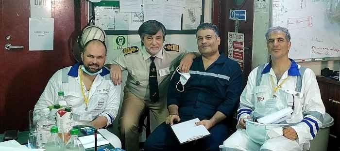 Tech Superintendent Oleg T.M., Captain Vlad Nikilskiy, Chief Engineer Mohammad Nikkhoo, Technical Superintendent Seyed Hossein Farhid