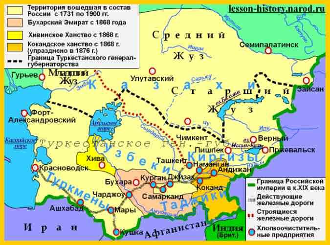 Карта Средней Азии