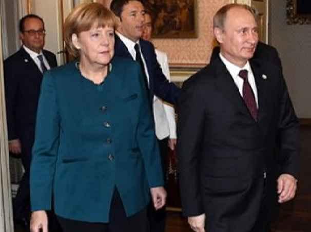 Путин Меркель и Олланд