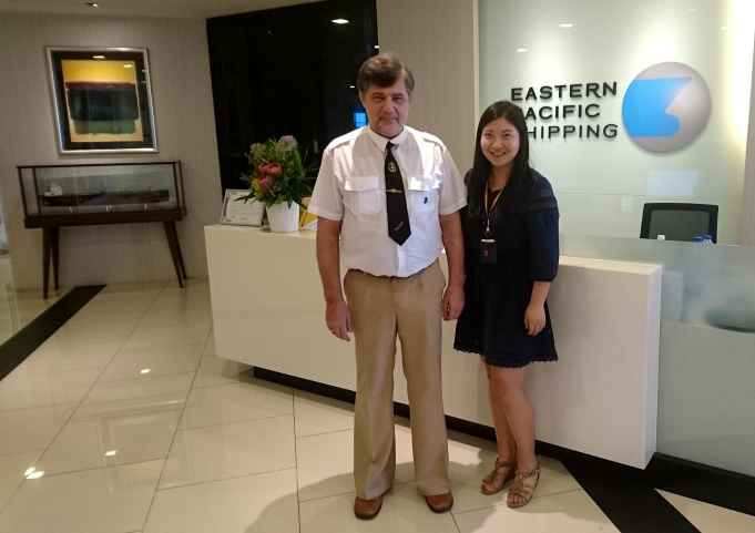 Capt Nikolskiy and Senior executive Fleet Personnel Dept Maggie Yuan Fang