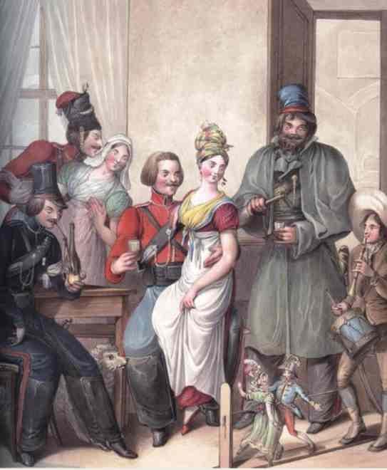 Русские в бистро в Париже 1814