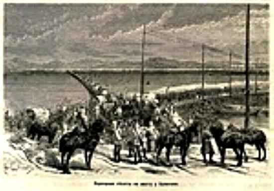Переправа пехоты по мосту у Браилова