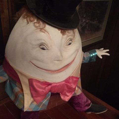 Creepy Humpty has been tending bar at our house for over a decade! He moved out today.