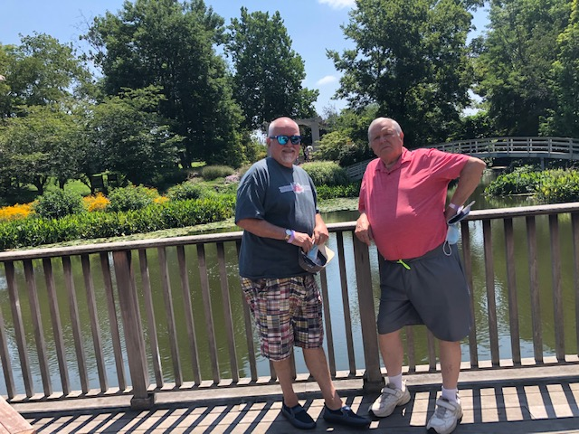 Hubs is in gray & his brother is in red. This is at the Japanese Gardens at the Creation Museum in Kentucky. Gary, my 80yo brother-in-law is an absolute trooper! Had I wanted to do the zip line adventure, he was ready to go, too!!