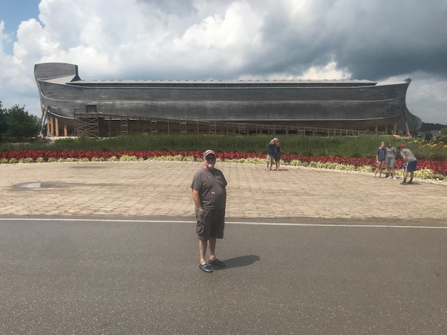 Amazing feat of engineering-The Ark Encounter at Williamstown, Kentucky & hubs posing in front.