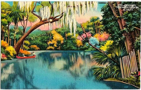 Vintage post card from Florida (reminds me of Cypress Gardens)