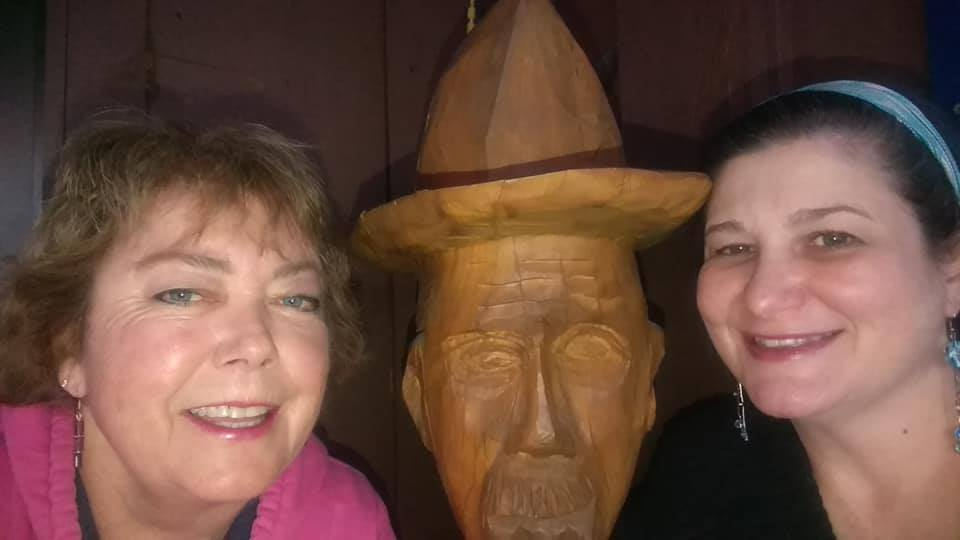 Cathy & I about 2 years ago...just typical of us being goofy with our crazy-eyed, wooden, cowboy boyfriend. ♥ Please keep her in your thoughts & prayers as she adjusts to her new normal. We also have a photo with the Native American wooden boyfriend we share, but I couldn't find it in my files for this post.