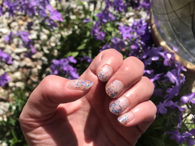 Last week's manicure in the flower bed by our driveway.