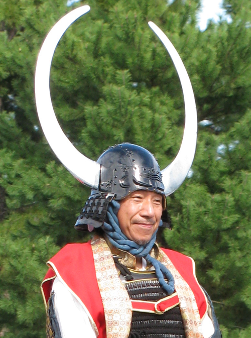 Parade rider's helmet (detail), Jidai Matsuri, Kyoto 2009
