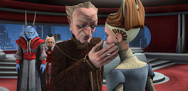 Palpatine touches Padme's cheek in The Clone Wars Heroes on Both Sides