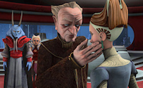 "The Clone Wars Heroes on Both Sides- Palpatine touches Padme""s cheek"