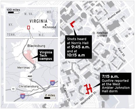 Map of the Virginia Tech Shooting