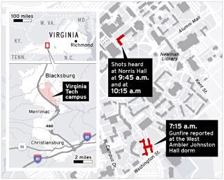 Small version: Map of the Virginia Tech Shooting