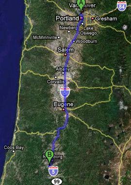 Portland, Oregon to Winston, Oregon - map