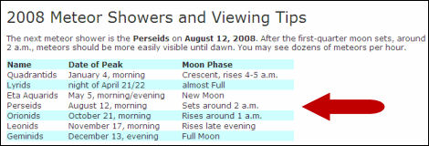 2008 Perseids meteor shower viewing tips