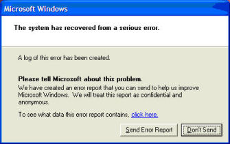 Microsoft Windows: The system has recovered from a serious error