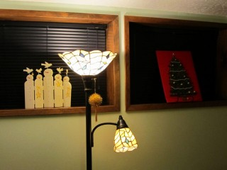 2011 Christmas - glass tree (right) and snowmen (left)