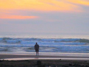 Mitch on beach at sunset