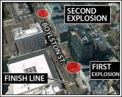 Map showing explosions