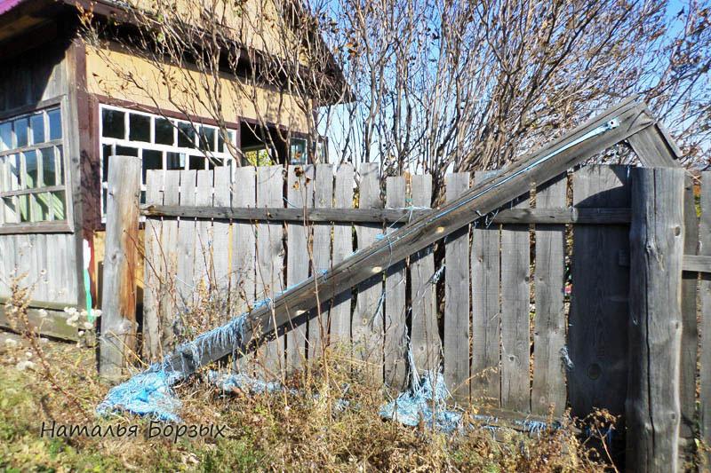 разрушаю старый забор и выпиливаю заросли сирени