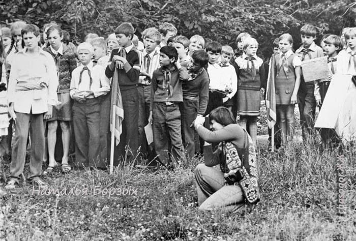 вечерняя линейка в пионерском лагере, 1979 год